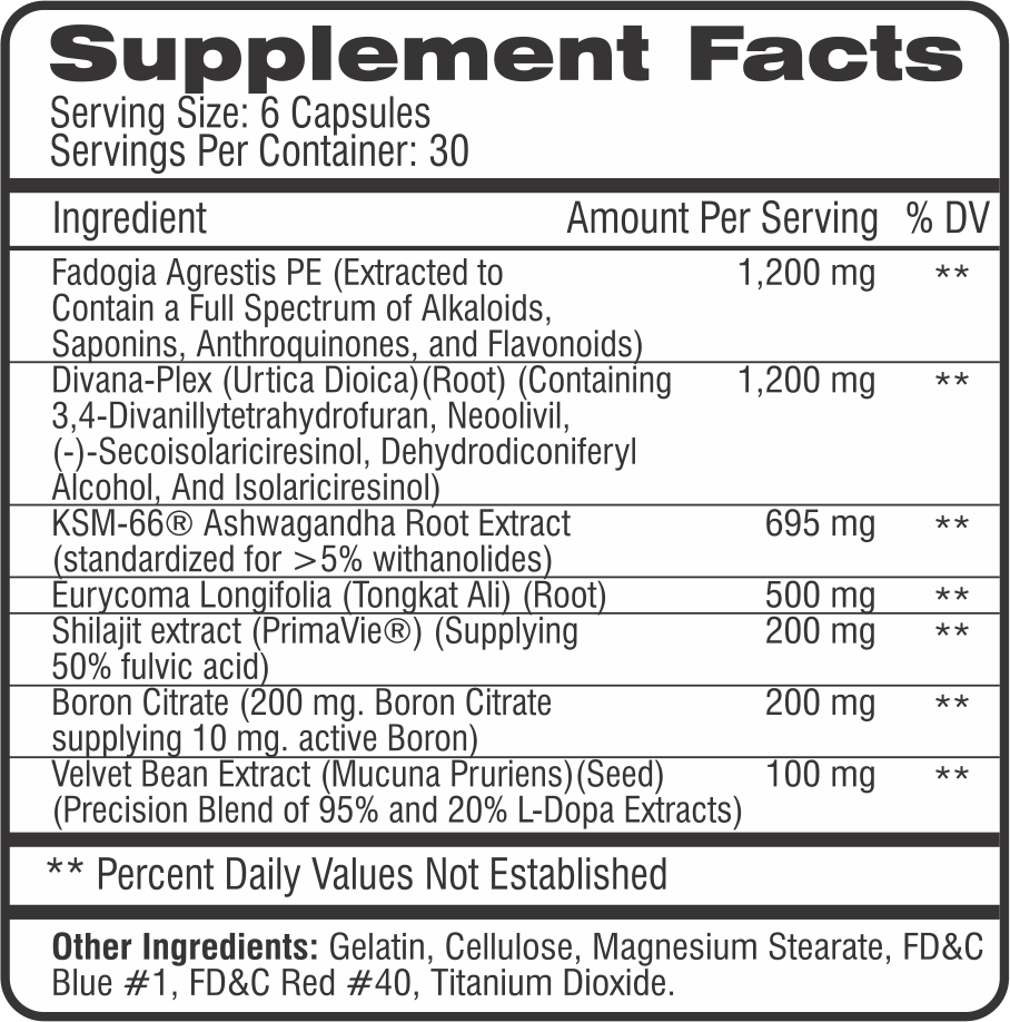 M-Test Supplement Facts